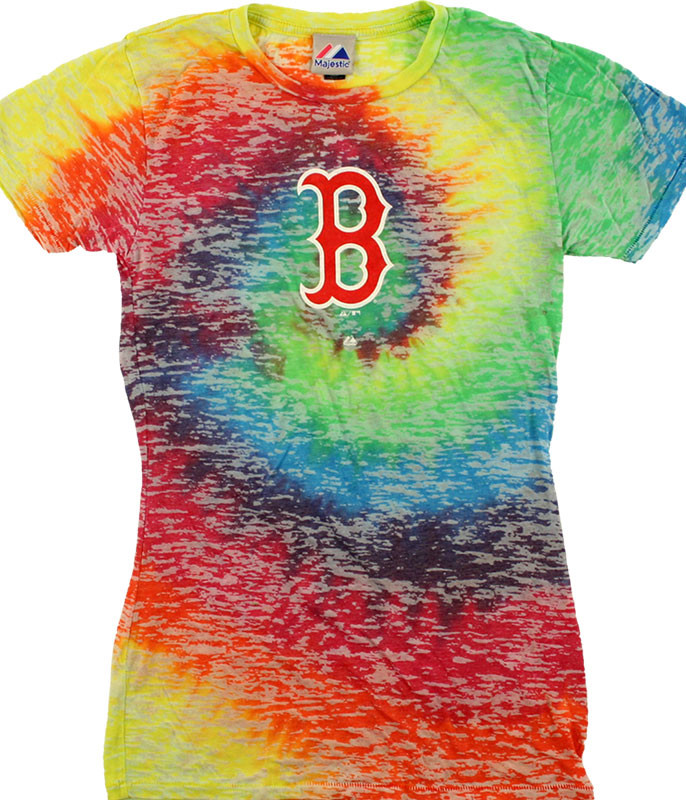 MLB Boston Red Sox Rainbow Burnout Tie-Dye Juniors Long Length T-Shirt Tee Liquid Blue
