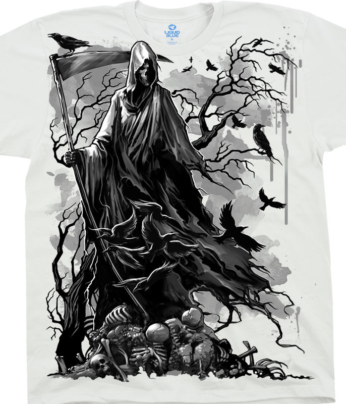 Dark Fantasy Reaper Crows White T-Shirt Tee Liquid Blue