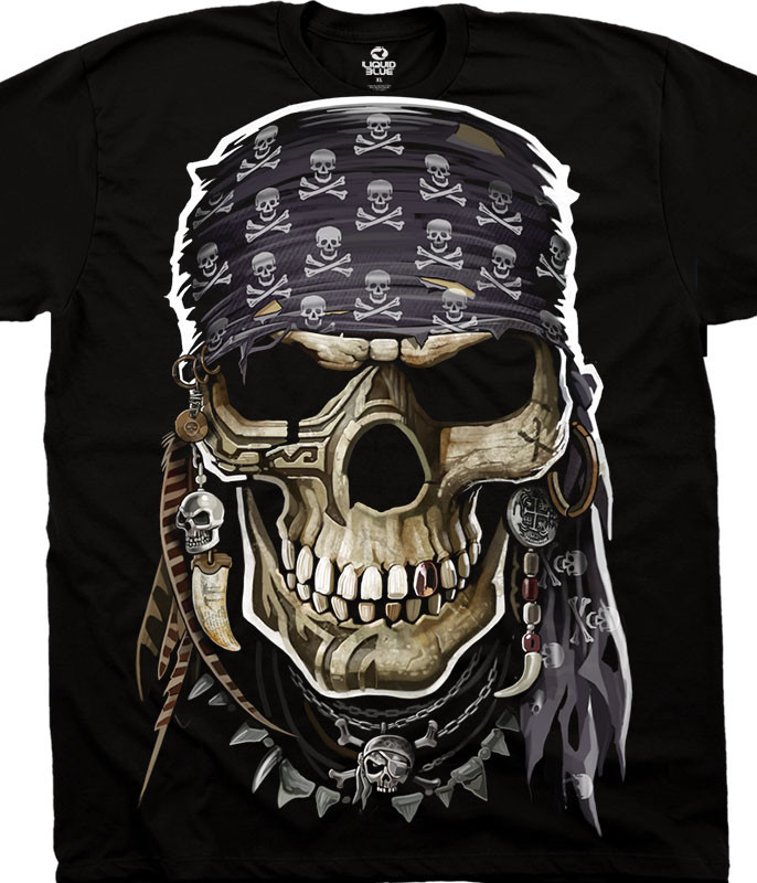 Skulls Pirate Skull Black T-Shirt Tee Liquid Blue