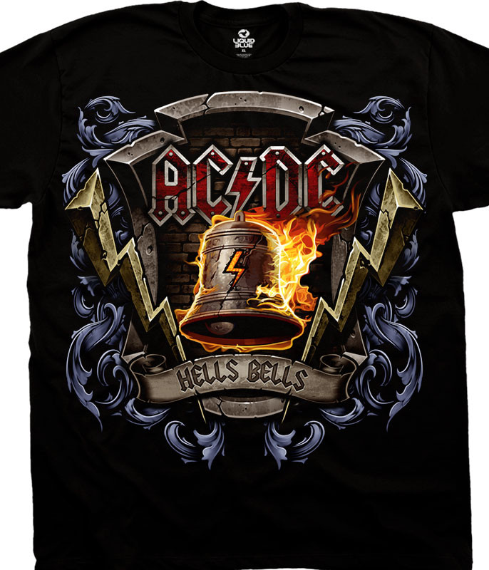 AC/DC Hells Bells Shield Black T-Shirt Tee Liquid Blue