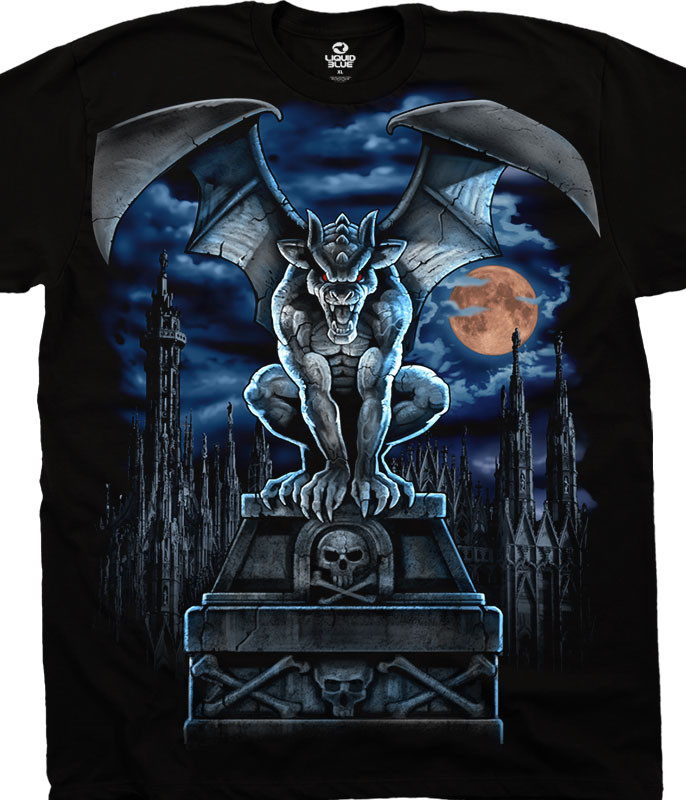 Dark Fantasy Gargoyle Moon Black T-Shirt Tee Liquid Blue