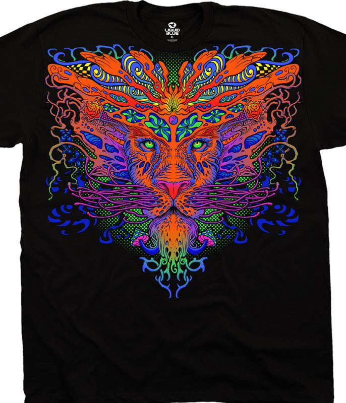 Light Fantasy Trippy Lion Black T-Shirt Tee Liquid Blue