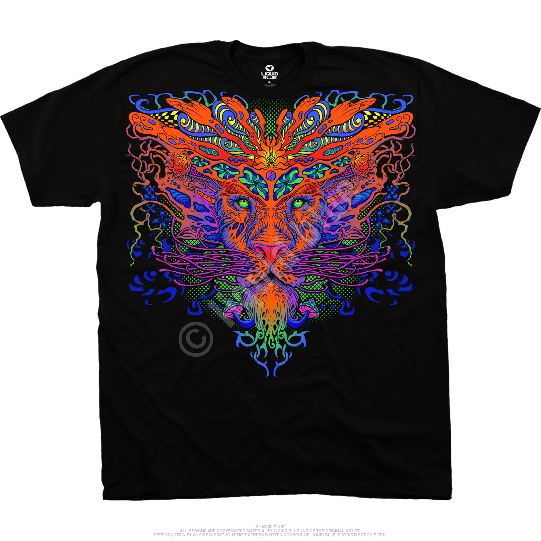 Trippy Lion Black T-Shirt