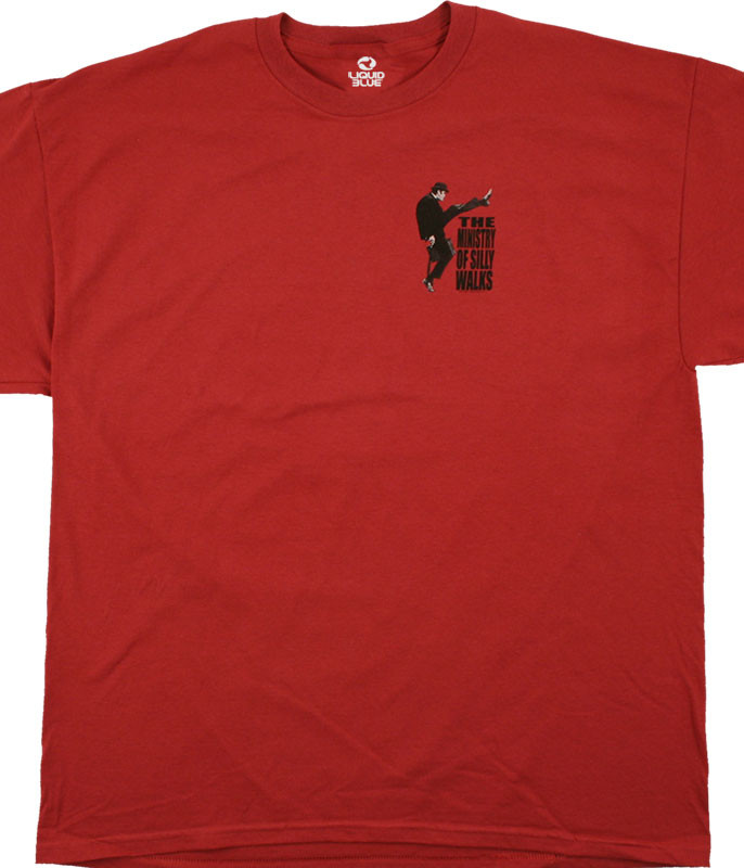 Monty Python Ministry Of Silly Walks Red T-Shirt Tee Liquid Blue