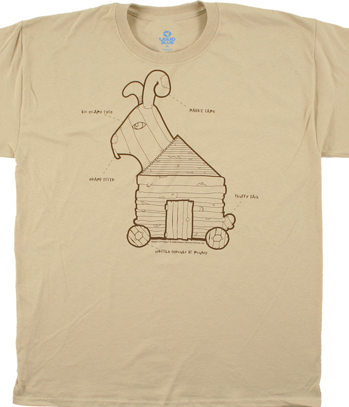 Monty Python Trojan Rabbit Tan T-Shirt Tee Liquid Blue