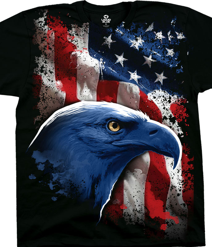 Americana American Icon Black T-Shirt Tee Liquid Blue