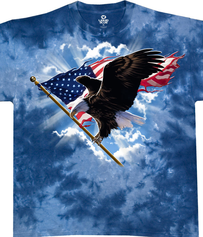 Americana Patriotic Flying Eagle Tie-Dye T-Shirt Tee Liquid Blue