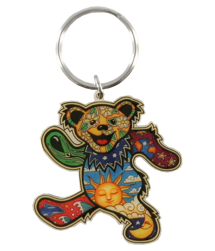 Grateful Dead Psychedelic Bear Keychain Liquid Blue