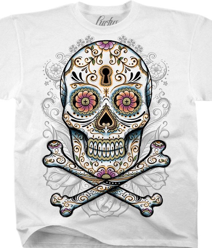 Floral Skull White T-Shirt