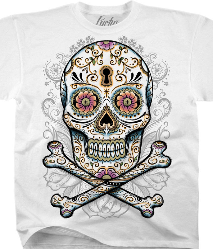 Luctus Floral Skull White T-Shirt Tee Liquid Blue