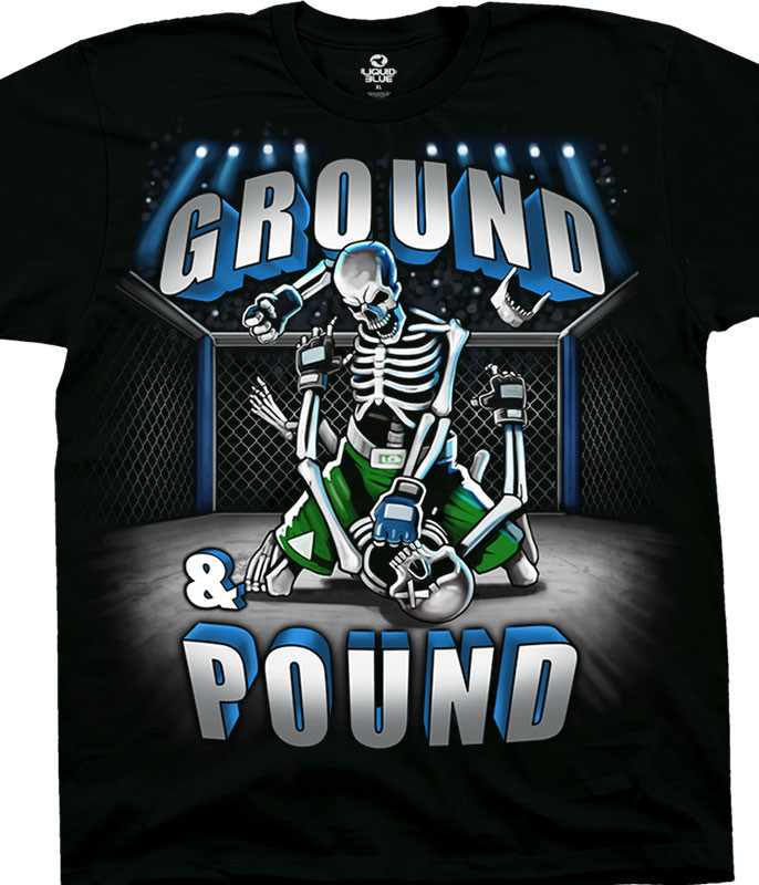 Skulls Ground And Pound Black T-Shirt Tee Liquid Blue