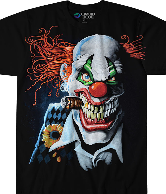 Dark Fantasy Joker Clown Black T-Shirt Tee Liquid Blue