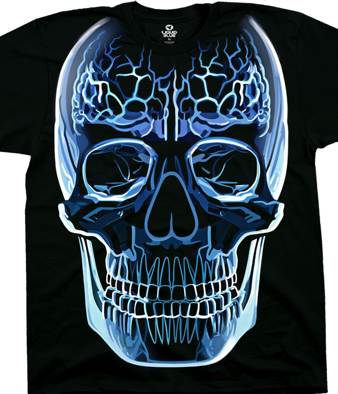 Skulls Glass Skull Black T-Shirt Tee Liquid Blue
