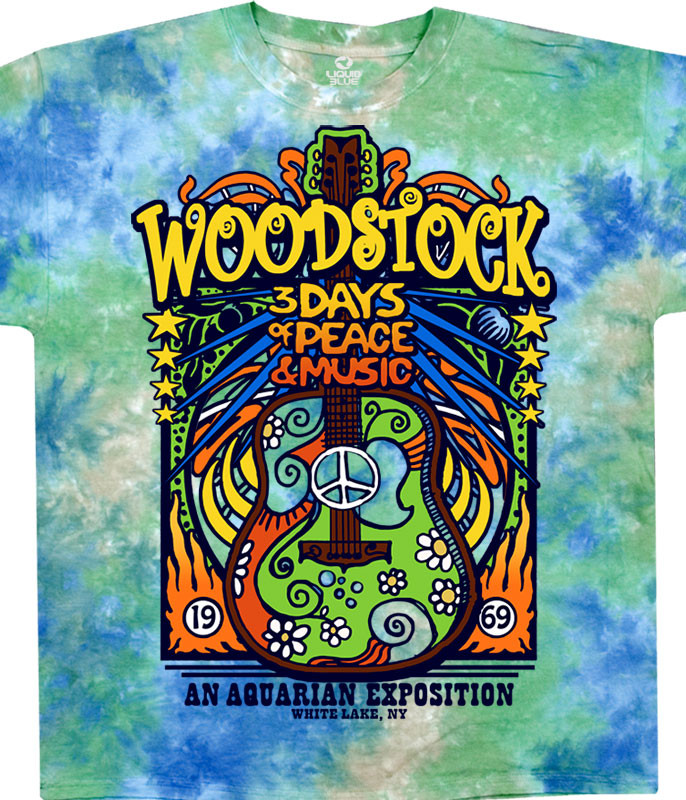 Woodstock Music Festival Black T-Shirt Tee Liquid Blue