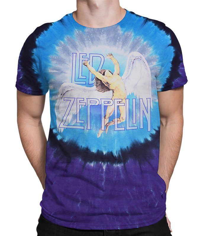 Led Zeppelin Swan Song Tie-Dye T-Shirt Tee Liquid Blue