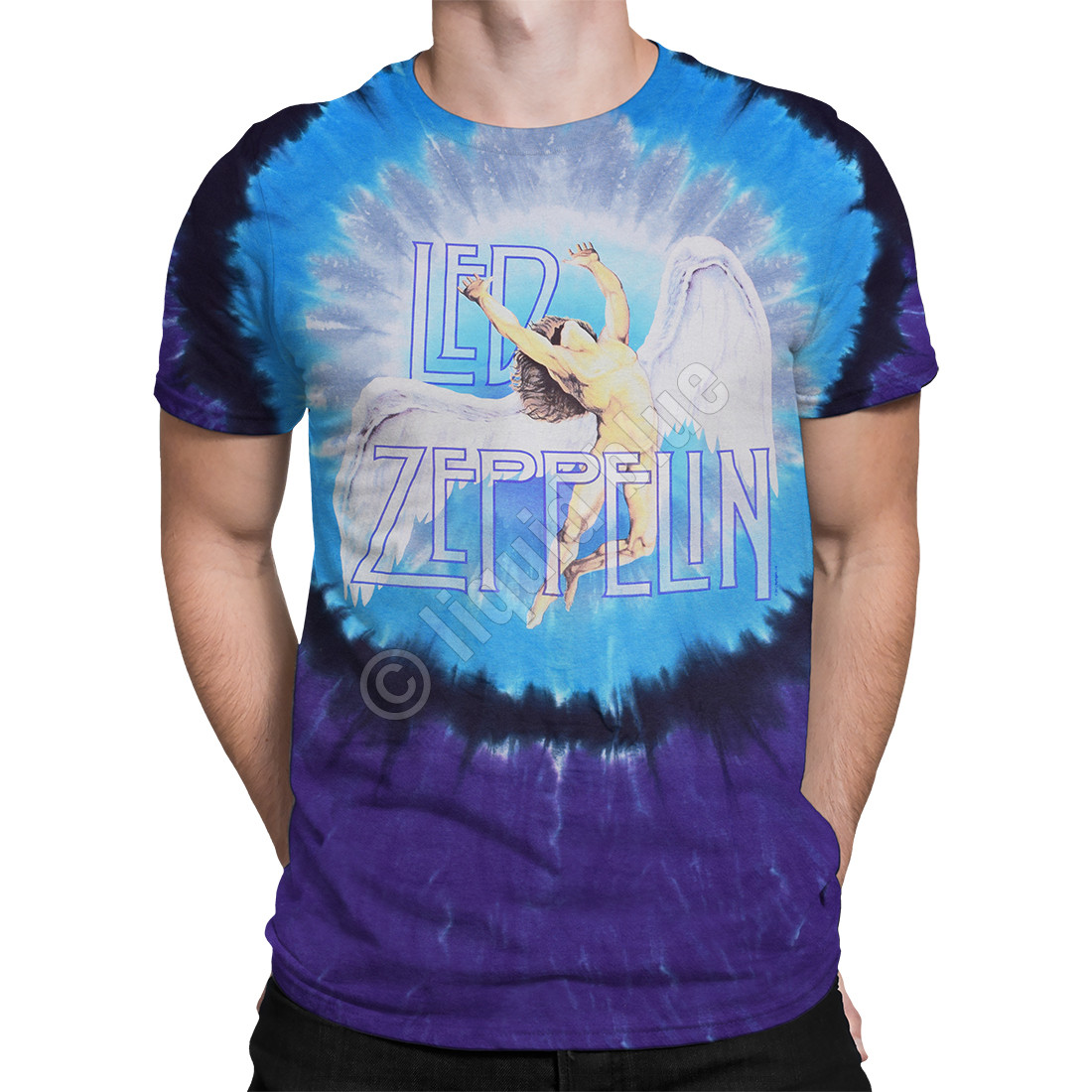 3c940a16 Led Zeppelin Swan Song Tie-Dye T-Shirt Tee Liquid Blue
