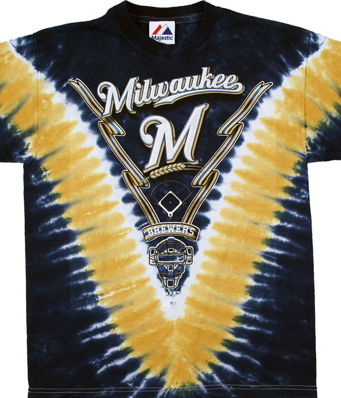 MLB Milwaukee Brewers Youth Tie-Dye T-Shirt Tee Liquid Blue