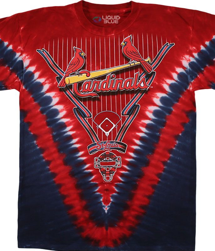 MLB St. Louis Cardinals V Tie-Dye T-Shirt Tee Liquid Blue