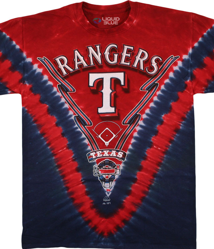 MLB Texas Rangers V Tie-Dye T-Shirt Tee Liquid Blue