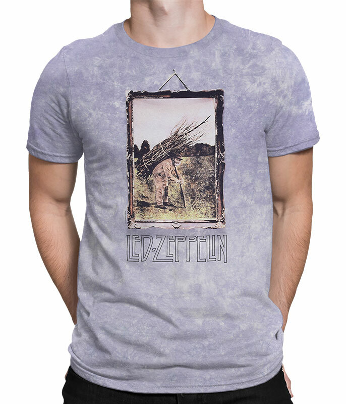 Led Zeppelin Man With Sticks Tie-Dye T-Shirt Tee Liquid Blue