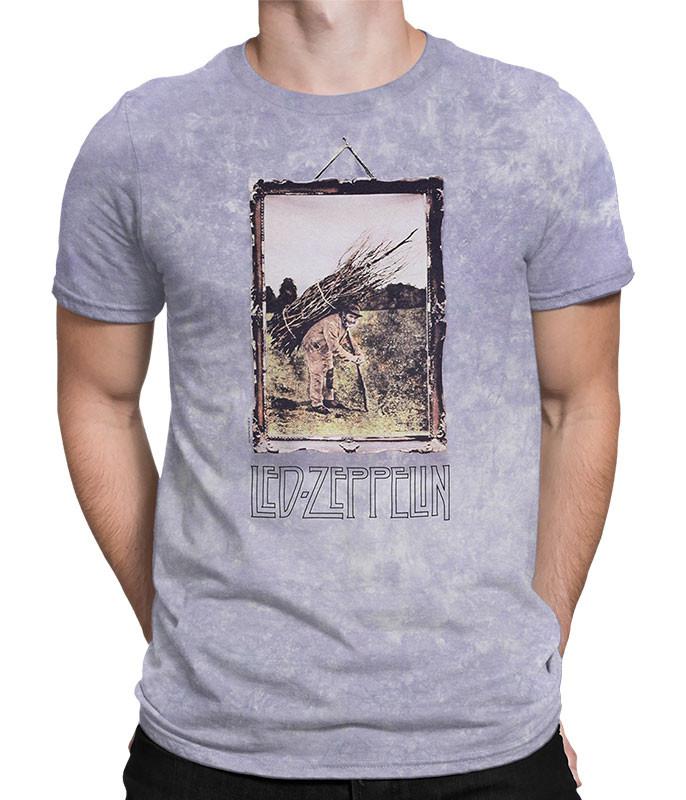 Led Zeppelin Man With Sticks Tie-Dye T-Shirt Tee Liquid Blue