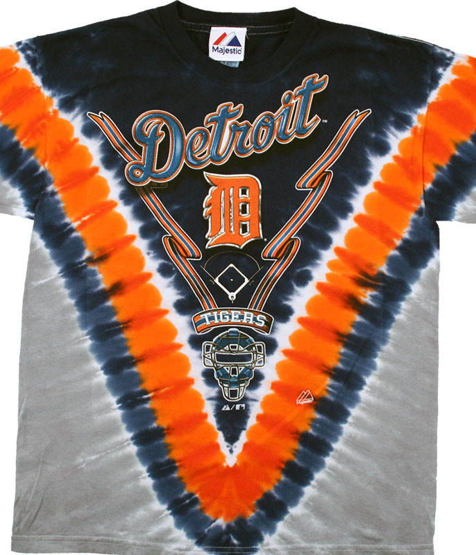 MLB Detroit Tigers Youth V Tie-Dye T-Shirt Tee Liquid Blue
