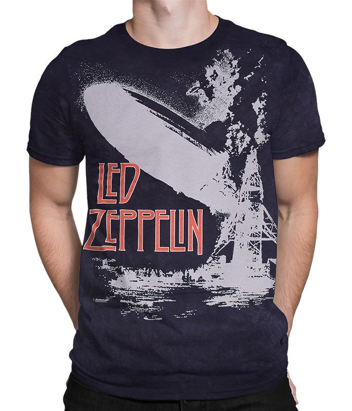Led Zeppelin Exploding Zeppelin Tie-Dye T-Shirt Tee Liquid Blue