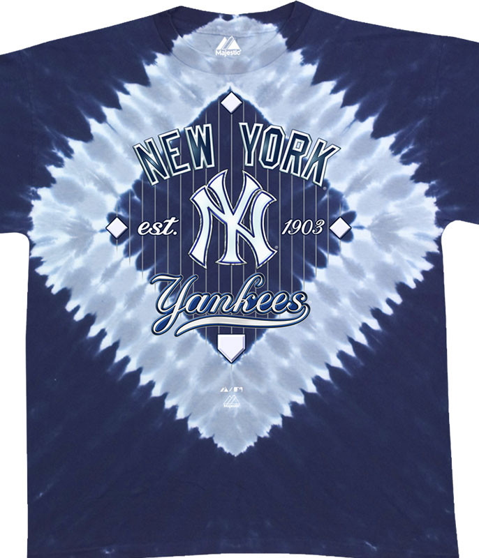 MLB New York Yankees Infield Tie-Dye T-Shirt Tee Liquid Blue