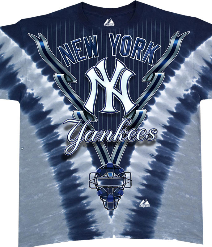 MLB New York Yankees Youth Tie-Dye T-Shirt Tee Liquid Blue
