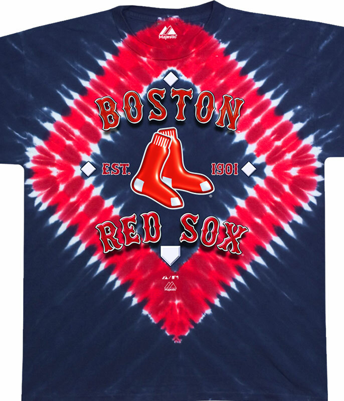 MLB Boston Red Sox Infield Tie-Dye T-Shirt Tee Liquid Blue
