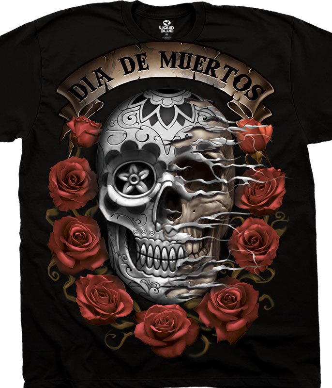 Latin Art Dia De Muertos Skull Black T-Shirt Tee Liquid Blue