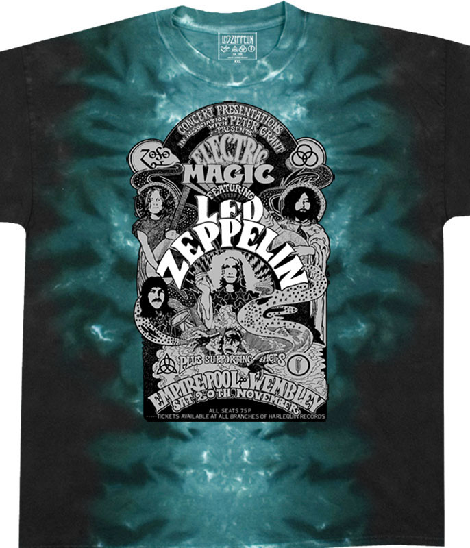 Led Zeppelin Electric Magic Tie-Dye T-Shirt Tee Liquid Blue