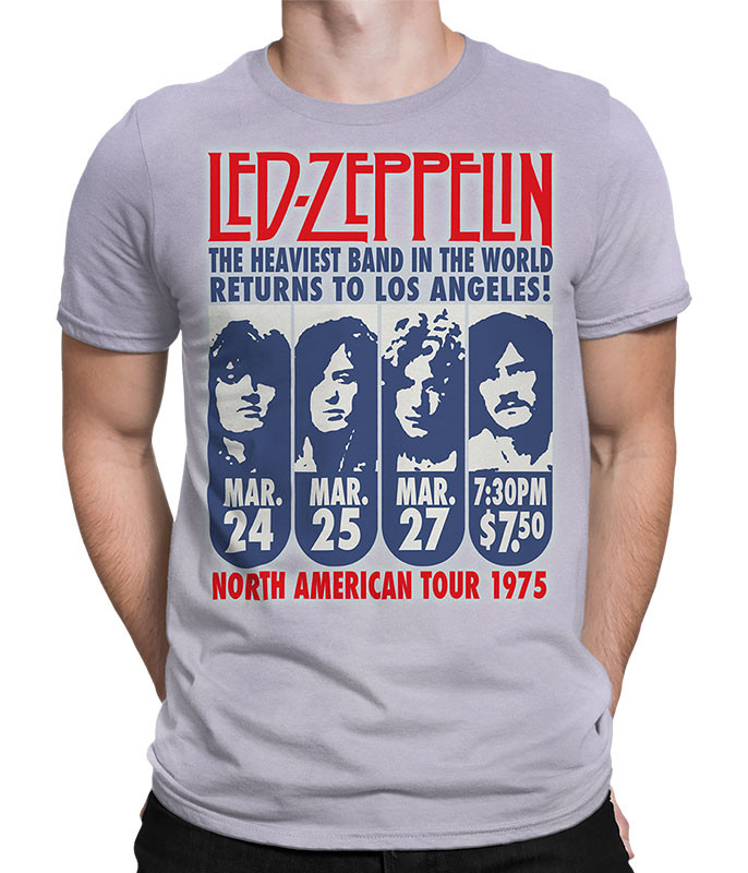 Led Zeppelin LA 1975 Tie-Dye T-Shirt Tee Liquid Blue