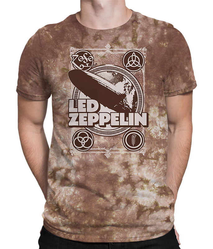 Led Zeppelin Poster Tie-Dye T-Shirt Tee Liquid Blue