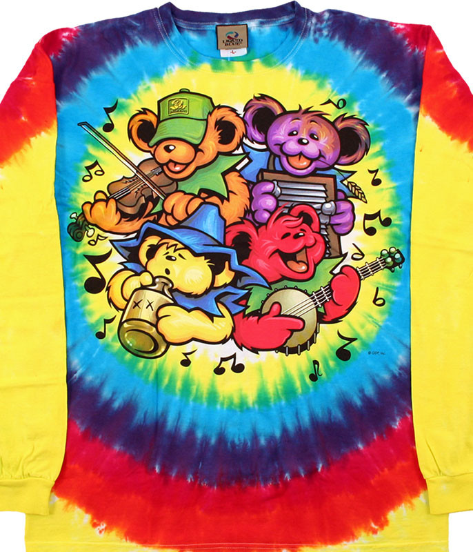 Grateful Dead Bear Jamboree Tie-Dye Long Sleeve T-Shirt Tee Liquid Blue