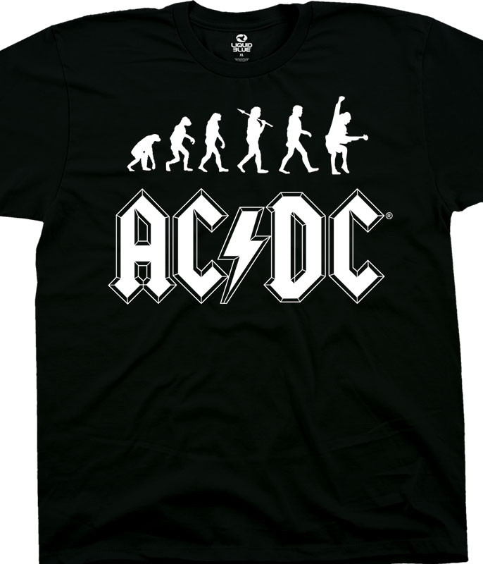 AC/DC Rock Evolution Black T-Shirt Tee Liquid Blue