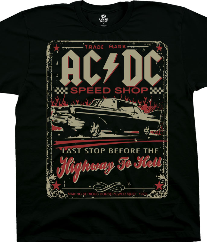AC/DC Speedshop Black T-Shirt Tee Liquid Blue