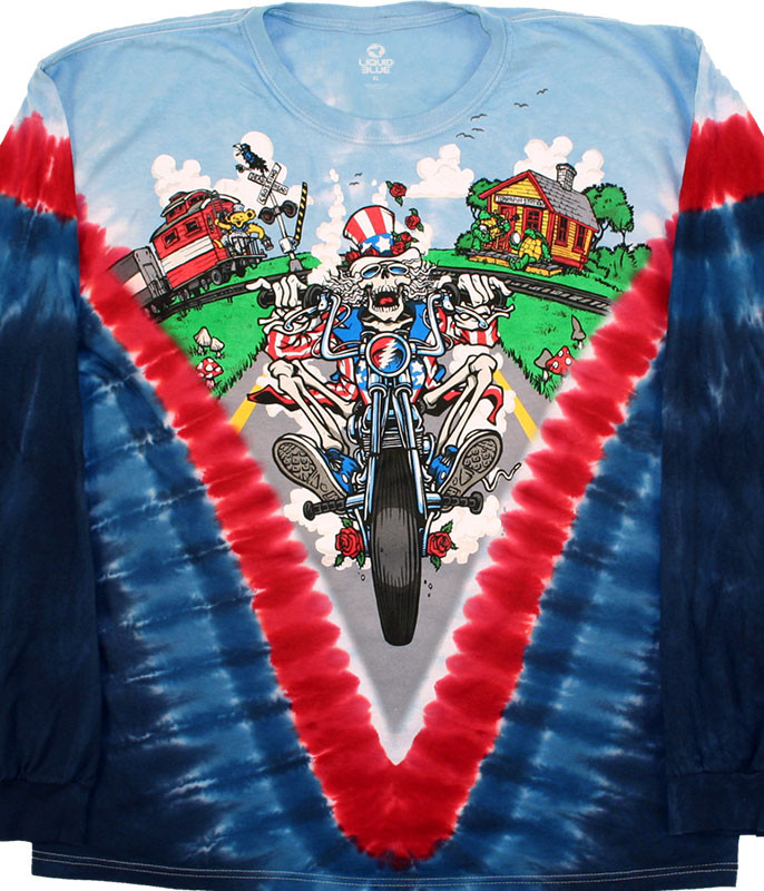 Grateful Dead Moto Sam Tie-Dye Long Sleeve T-Shirt Tee Liquid Blue