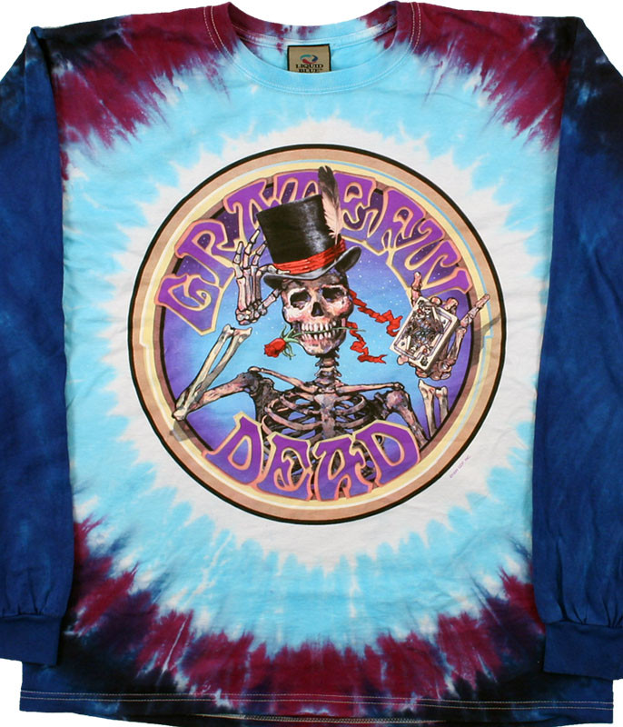 Grateful Dead Queen Of Spades Tie-Dye Long Sleeve T-Shirt Tee Liquid Blue