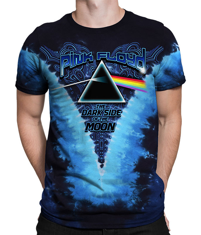 Pink Floyd Dark Side Of The Moon Tie-Dye T-Shirt Tee Liquid Blue