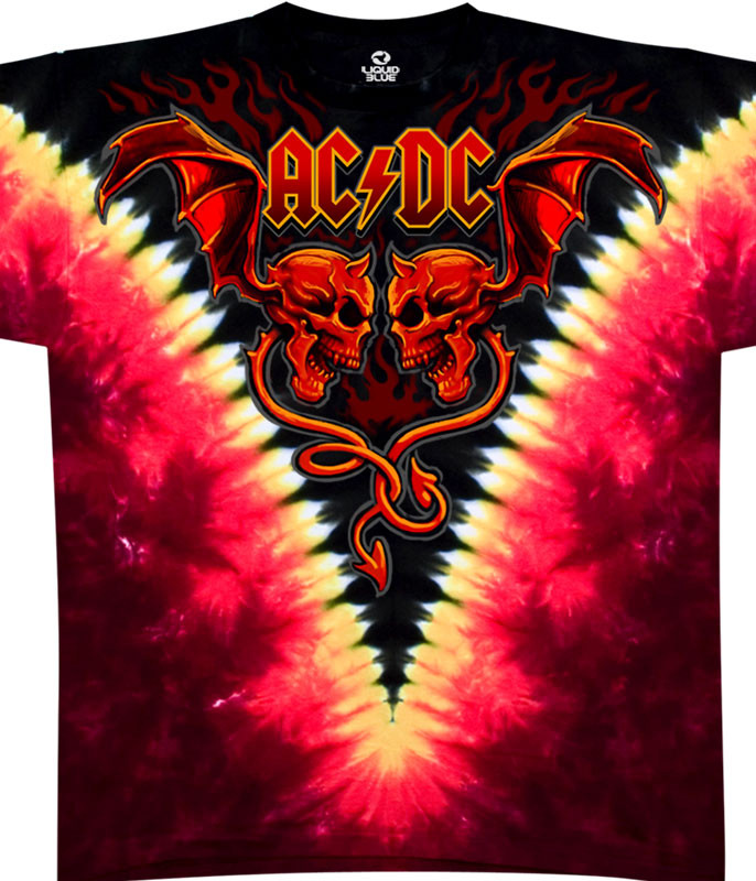 AC/DC Evil Wings Tie-Dye T-Shirt Tee Liquid Blue