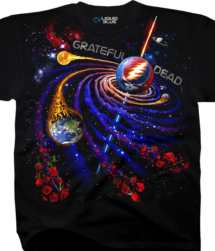 Grateful Dead Steal Your Orbit Black T-Shirt Tee Liquid Blue