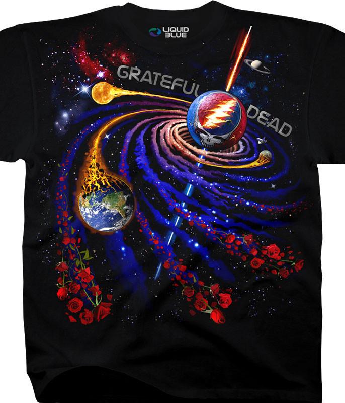 Grateful Dead Steal Your Orbit Black T-Shirt Tee Liquid Blue