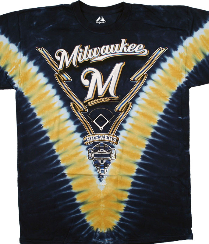 MLB Milwaukee Brewers V Tie-Dye T-Shirt Tee Liquid Blue