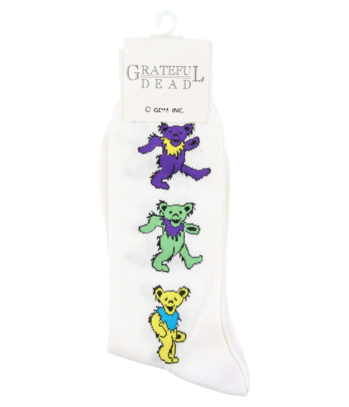 Grateful Dead GD Dancing Bear Ladies White Socks
