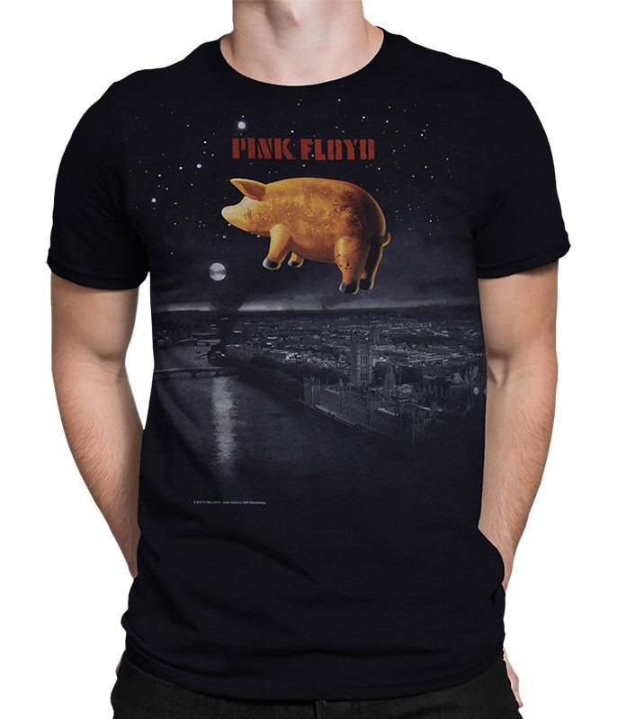 Pink Floyd Pigs Over London Black T-Shirt Tee Liquid Blue