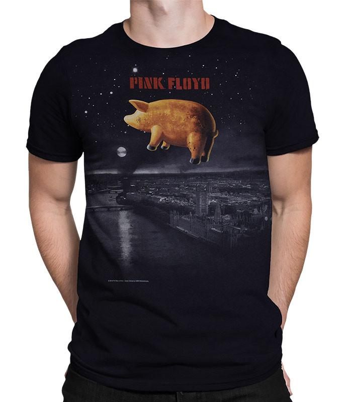 Pink Floyd Pigs Over London Black T-Shirt Tee Liquid Blue