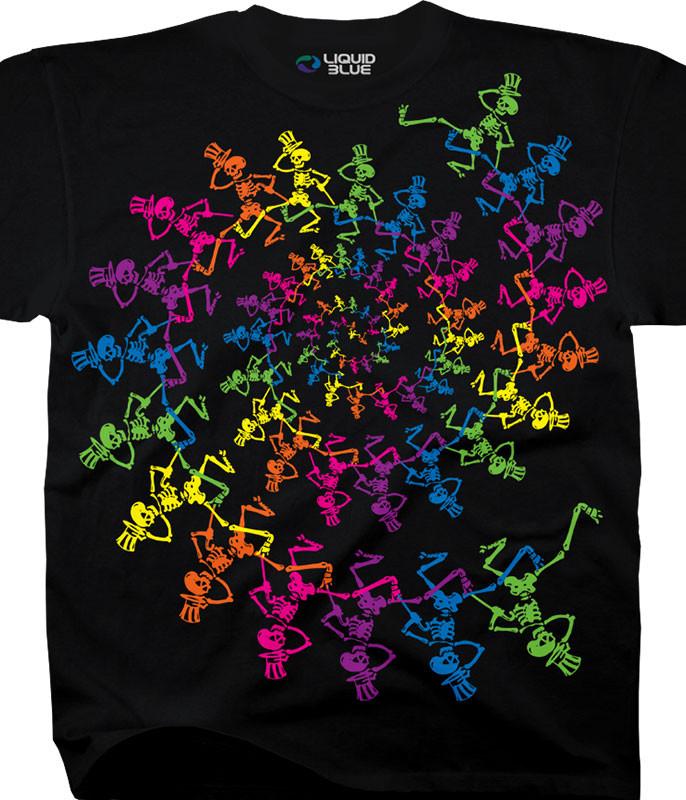 Spiral Skeletons Black T-Shirt