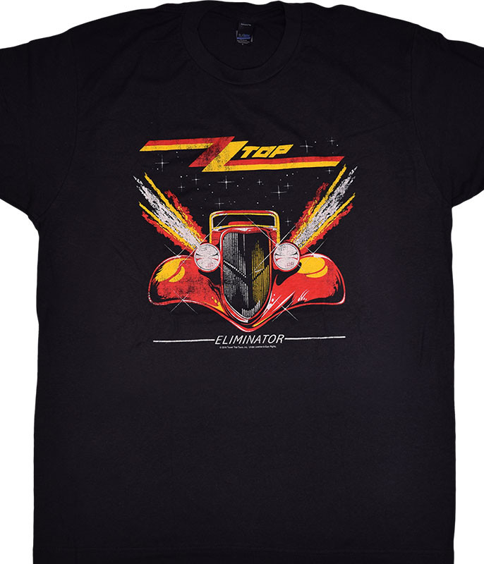 ZZ Top Eliminator Black Grey T-Shirt Tee Liquid Blue