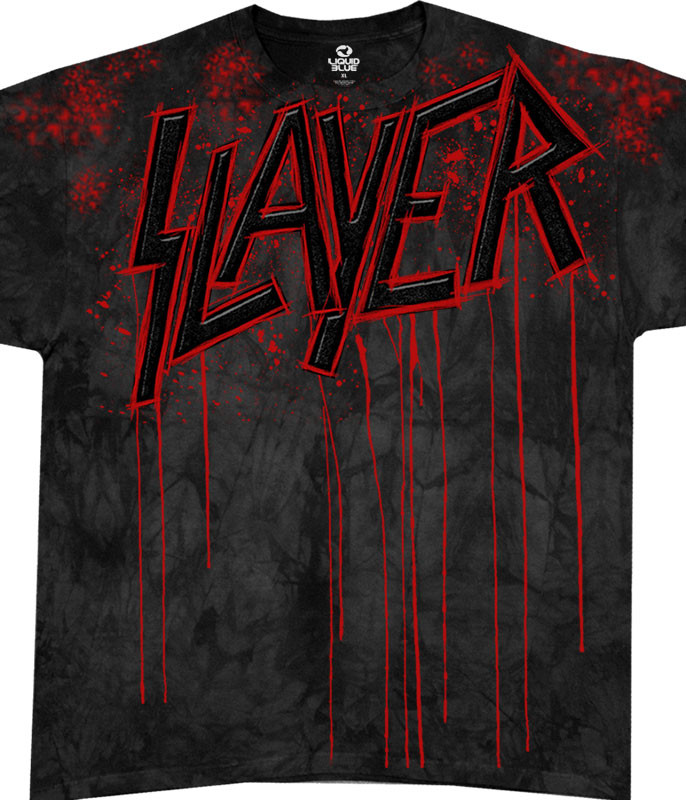 Slayer Raining Blood Tie-Dye T-Shirt Tee Liquid Blue